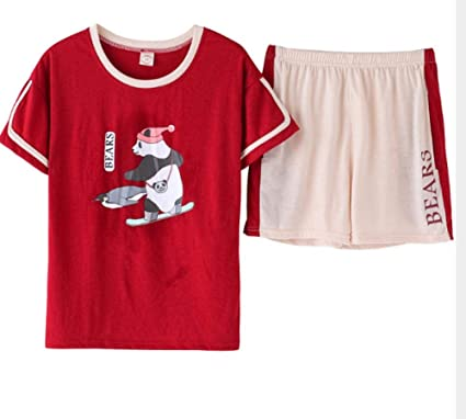 Pijamas para Mujer, Señoras Pijama Algodón Novedad Niña Panda Linda Ropa De Dormir Pjs Shorts De Manga Corta Niñas De 12-16 Años Ropa De Dormir Rojo M: Amazon.es: Ropa y accesorios