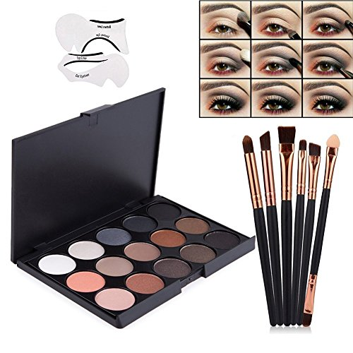 Vodisa Eyeshadow Palette 15 Waterproof Makeup Nature Glow Matte Eye Shadows Kits Professional Make Up Shimmer Eye Shadow Pallets with Eyes Makeup Brushes Set and Cat Eyeliner Stencil Beauty Cosmetics