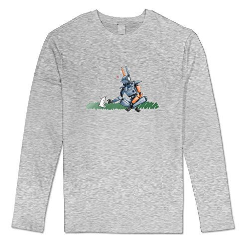 AOPO Men's Long Sleeve Chappie 2015 Film Tshirts Small Ash