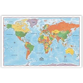 Amazoncom ProGeo Maps The World Political Wall Map X - 36 x 48 world map