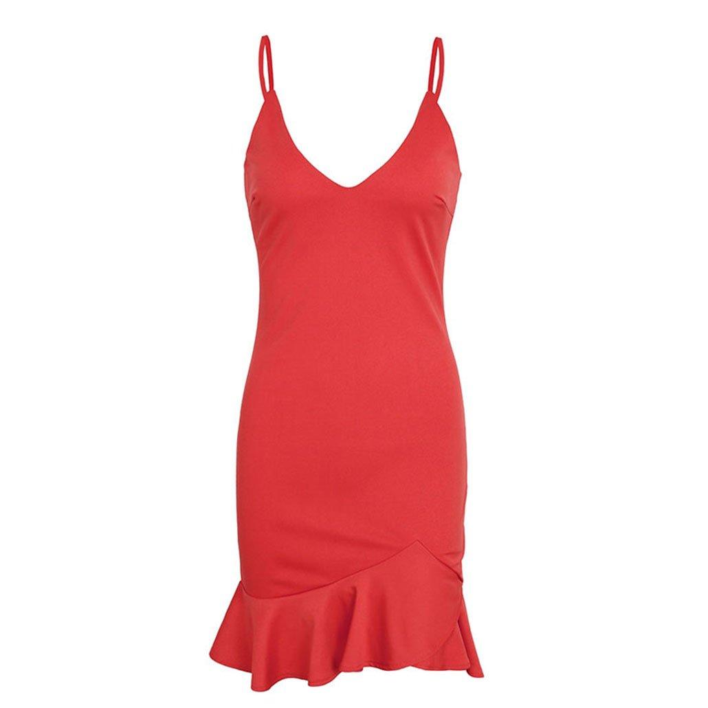 987da4eb67b5 ji jing Sexy v Neck Ruffle Strap Mini Dress Women Skinny Black Mermaid Dress  2018 Summer Dress at Amazon Women's Clothing store: