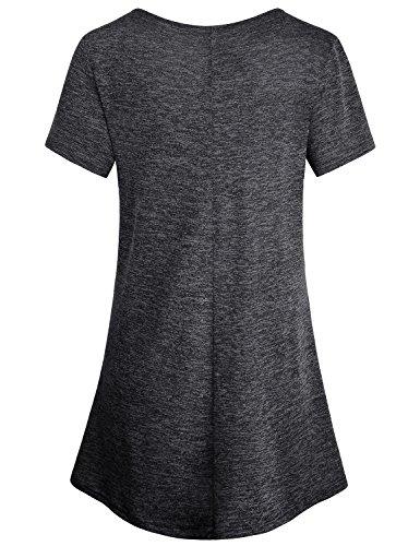 Baikea-Womens-Cross-V-Neck-Short-Sleeve-Loose-Flare-Tunic-Tops-With-Center-Pleats