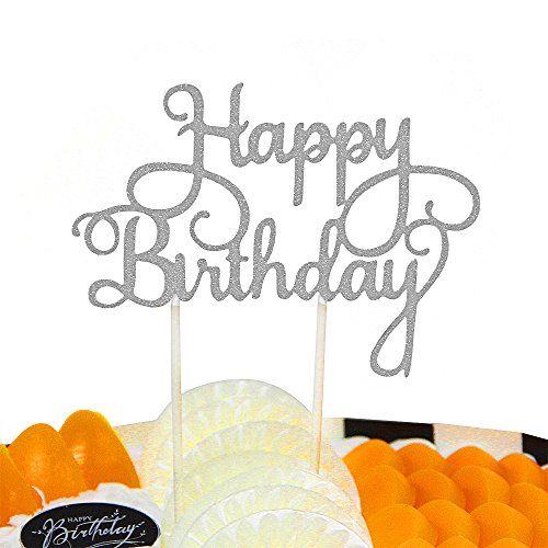 PALASASA Happy Birthday Cake Toppers. Sparkling Silver Glittery Birthday Cupcake Picks. Birthday Party Decorations