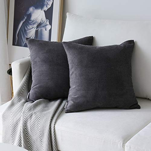 (NATUS WEAVER Set of 2,Decor Supersoft Check Pillow Covers Waffle Velvet Corduroy Decorative Throw Toss Cushion Cover for Sofa, Dark Grey, 20 inch)