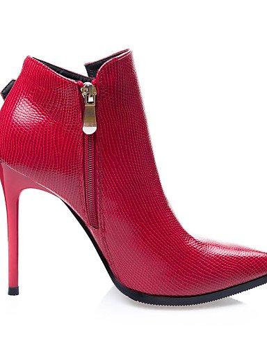 Punta C De Eu39 Cerrada Tacones Puntiagudos Botines Rojo us6 Vestido us8 Uk4 Uk6 7 Stiletto Cn39 Xzz Gray Casual 5 5 Red Botas Cn37 Zapatos Eu37 Tacón Semicuero 5 Mujer negro 8nUX15q