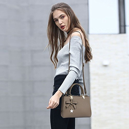 Pockets Khaki Tote Perfectly flintronic Detachable Bag for Handbags Work Daily Life Business Making A Multiple Women's amp; Ideal Bag Medium Shoulder or Feminine it Leather Bag Perfect Strap ZwwCPpqY
