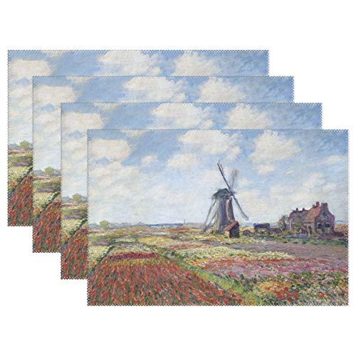 (WIHVE Placemats Set of 4, Fields of Tulip with Rijnsburg Windmill Monet Art Holiday Non Slip Heat-Resistant Washable Polyester Table Place Mats for Kitchen Dining Table, 12