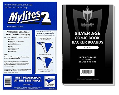 SUPER TEAM-UP! (50) Gerber Standard Size Mylites 2 Comic Book Mylar Sleeves PLUS SILVER Boards by Max Pro (Qty= 50 M2's and 50 Boards) by E. Gerber