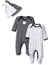 Baby Girls' Set Of 2 Organic Coveralls and Knot Top Hats