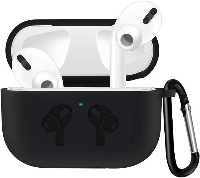 Image ofFunda de Silicona Apple AirPods Pro 2019 Cover para Estuche de Carga de, Silicone Skin Case LED Frontal Visible, Resistente a Golpes y Arañazos, Ajuste (Black)