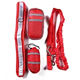 Elastic Dogs Leash, Adjustable Dog Leash Coupler Training Waist Bag Pouch Set With Belt by Vevins, Red