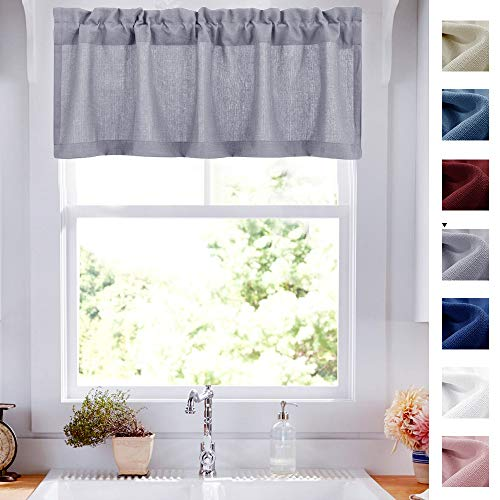 Valance Grey for Kitchen Window Semi Sheer Curtains Privacy Casual Weave Cafe Valances 54-inch x 18-inch 1 Panel (Grey Kitchen Valance)