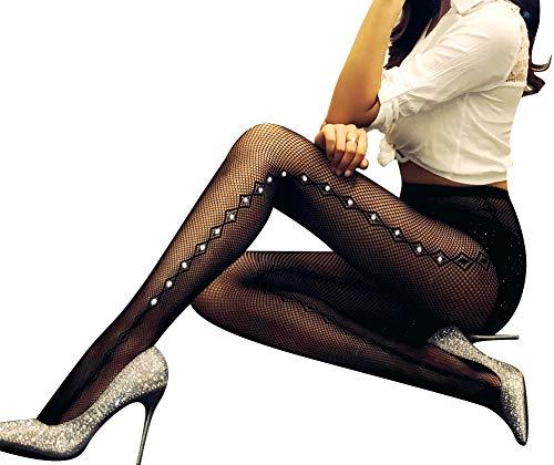 Fishnet Design (TGD Women's Rhinestone Fishnet Tights Suspender Pantyhose Thigh High Stockings (W54 Black))