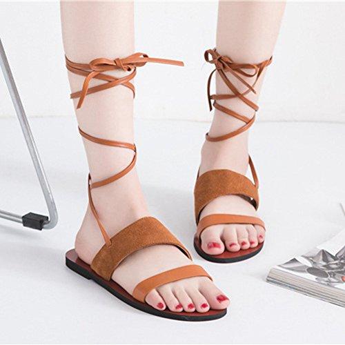 Btrada Femmes Plage Sandales Plates Lacets Jusquà La Sangle De Veau Sandales Romaines Marron