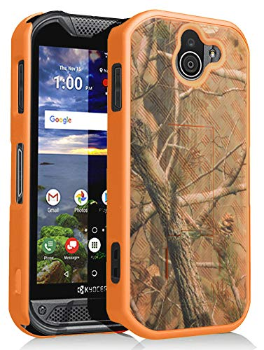 (Kyocera Duraforce Pro 2 Case, Nakedcellphone [Orange Camouflage] Outdoor Tree Leaf Real Woods Camo Slim Ribbed Hard Shell Cover [with Kickstand] for Kyocera Duraforce Pro-2 Phone (E6910))