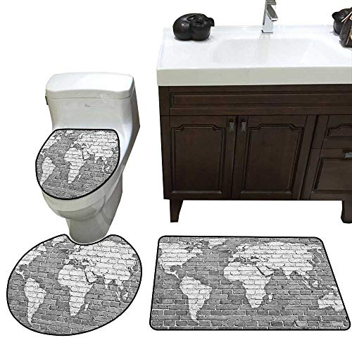 Wanderlust Bathroom Rug Set World Map on Old Brick Wall Construction Grunge Antique Stained Abstract bathmat Toilet mat Set Pale Grey White