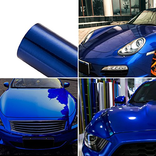 (ATMOMO Blue Car Wrap Vinyl Film Colorful DIY Car Body Films Vinyl Car Wrap Sticker Decal Film Air Release Film 1.52Mx30CM )