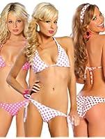 Tie Side Polka Dot Pucker Butt Bikini Swimwear - ONE SIZE