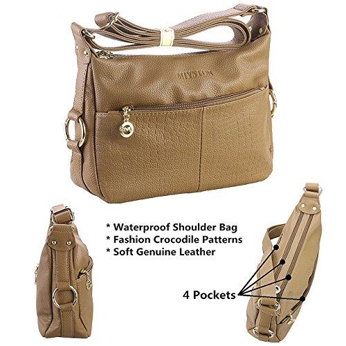 for Satchel Bags Women��s and Khaki Body Deep Purse Leather Cross Ladies Bag Shoulder Hobo Handbags Crocodile BBw7xgfqF