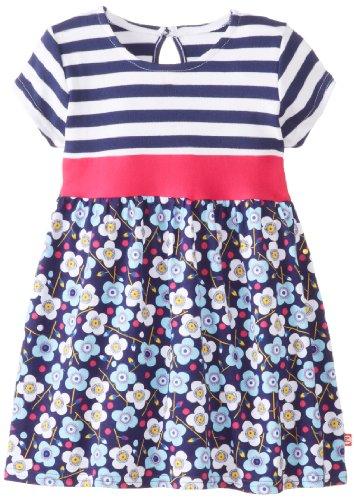 Zutano Baby-Girls Newborn Blaue Blumen Banded Waist Dress, Navy, 6 Months