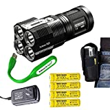 NITECORE TM28 Tiny Monster 6000 Lumen LED Flashlight / Searchlight with 4 X Nitecore 18650 Li-ion rechargeable batteries, EdisonBright USB powered reading light bundle