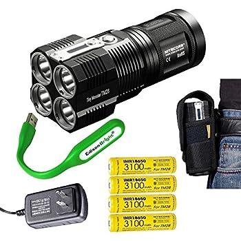 NITECORE TM28 Tiny Monster 6000 Lumen LED Flashlight / Searchlight with 4 X Nitecore 18650 Li-ion rechargeable batteries, EdisonBright USB powered reading light bundle