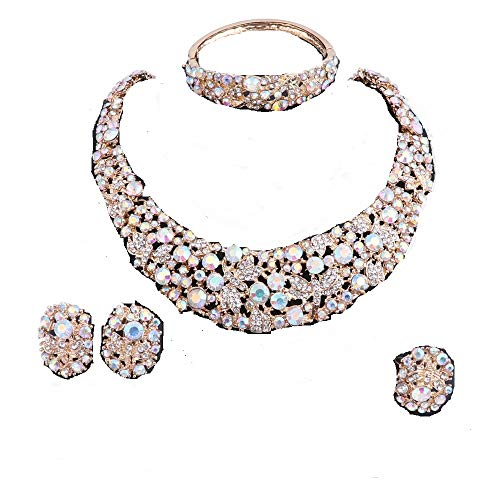 - OUHE Jewelry Sets for Women Crystal Inlay Necklace Earrings Ring Bracelet Bridesmaid Costume Show Wedding (Gold AB)