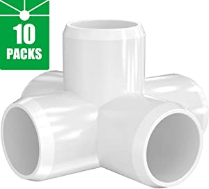 5-Way 1 inch PVC Fitting,Tee Pipe Fittings PVC Connectors - Build Heavy Duty Furniture Grade for 1 inch Size Pipe,White [Pack of 10]