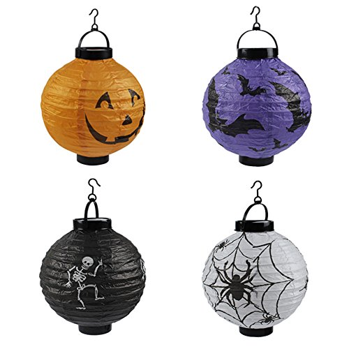 Jack Pumpkin Paper Lanterns LED Light,3D Paper Decoration Halloween Party,Sets 4]()