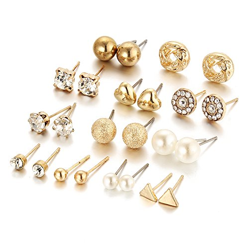 12 Pair Pack Sets Assorted Multiple Stud Earring Jewelry Set With Card For Women Girls (Gold) Stud Earrings Jewelry Set