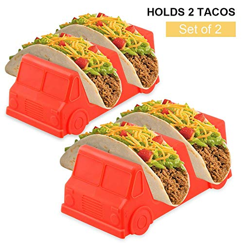 Set of 2 Taco Holder Stand Taco Truck Holds 2 Tacos,PP Material Food Safe,Salsa Red Cute Funny Gift for Kids & Adults for Fun Taco Tuesdays Perfect for Parties & Picnics