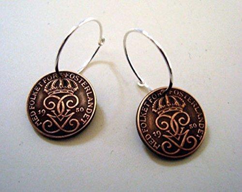 Sweden Antique (COIN EARRINGS. Swedish earrings. Sweden Coin earrings. Antique coin earrings.)