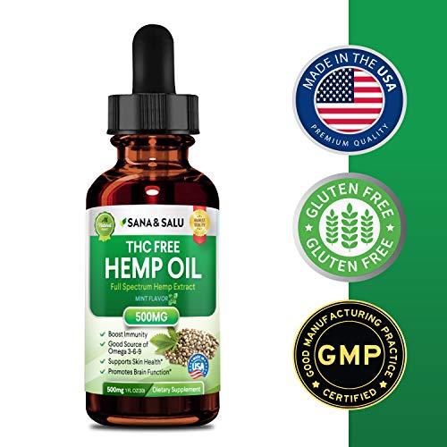 Hemp Oil,Hemp Extract with 500 mg - Helps with Anxiety, Chronic Pain, Sleep, Mood, Skin and Hair Utilizing Liquid Hemp Extract Oil Drops