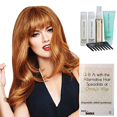 (Bundle - 7 items: Bang Human Hair Hairpiece by Raquel Welch, Christy's Wigs Q & A Booklet Luxury Shampoo & Conditioner Blown Away Treatment Mist Wide Tooth Comb - Color: R4HH)