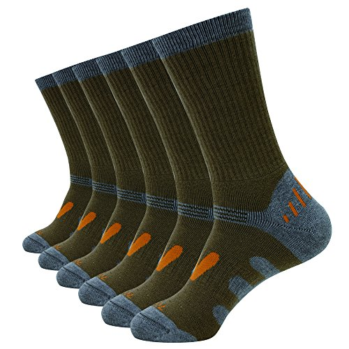 Enerwear Men's 6 Pack Wool Outdoor Hiking Work Boot Crew Socks & Athletic Socks (10-13/Shoe: 6-12, Coffee) (Wool Sock Work)