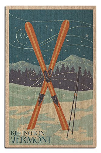 Killington, Vermont - Crossed Skis - Letterpress (12x18 Wood Wall Sign, Wall Decor Ready to Hang) (Ski Signs Vintage)