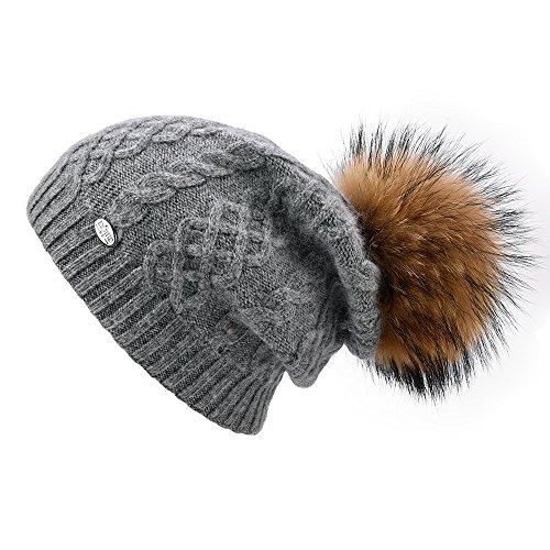 SOMALER Winter Fur Pom Pom Beanie for Women Wool Knit Slouchy Beanie Hats Ski Caps