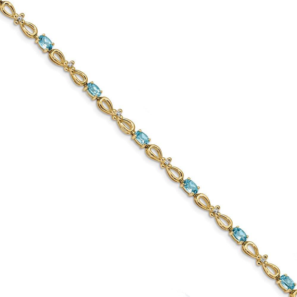 3.3mm 14k Polished 0.01ct. Diamond and 3ct Blue Topaz 7.5inch Bracelet