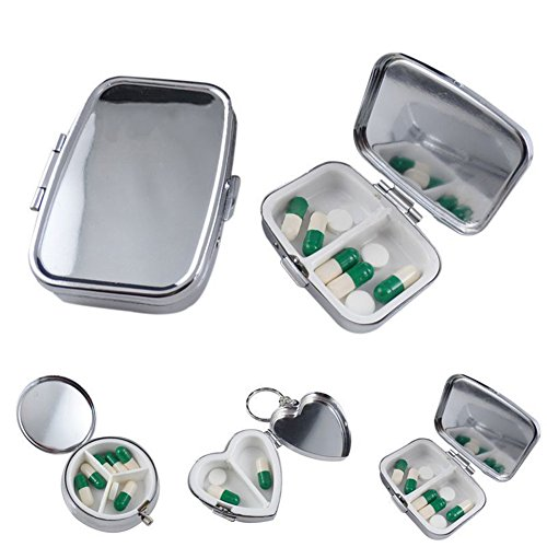 Price comparison product image Gold Happy Durable Metal Heart Round Medicine Organizer Holder Container Tablet Pill Box Case 3 Cell Metal Round Medicine Case Small Case