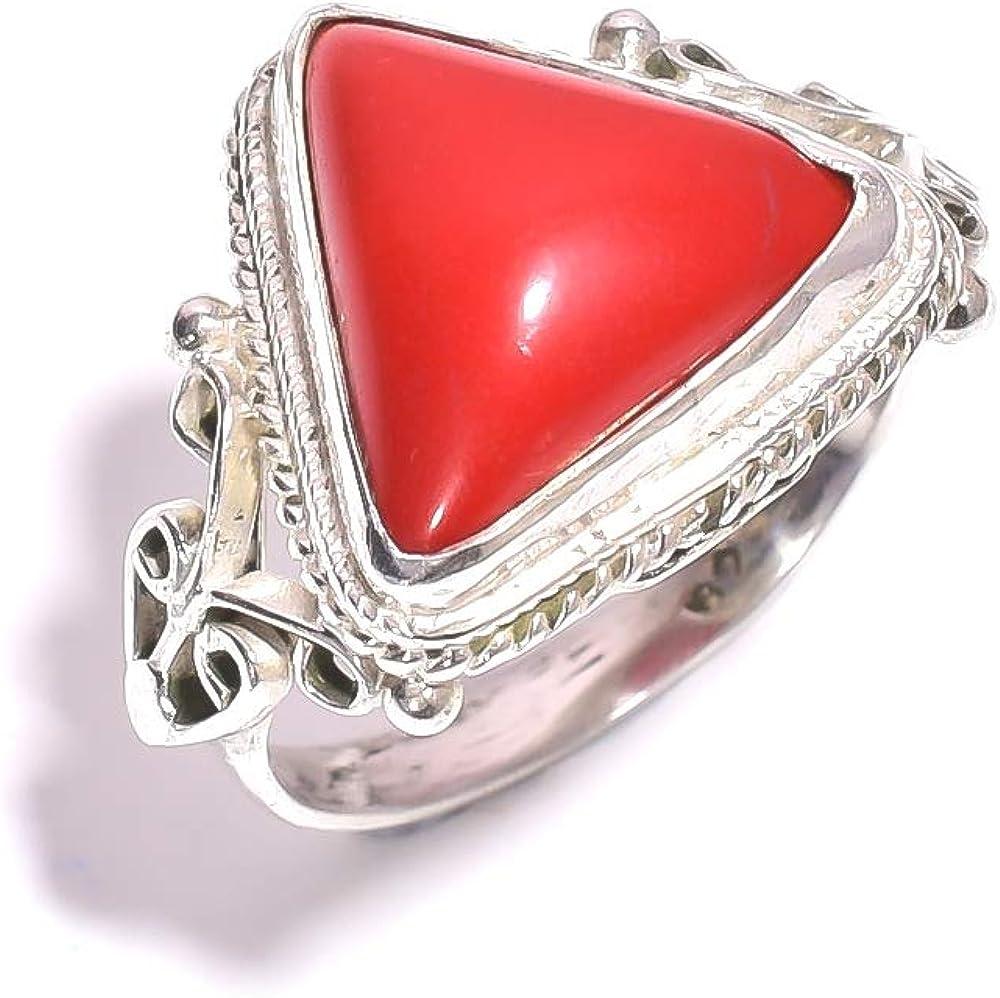 mughal gems & jewellery Anillo de Plata esterlina 925 Anillo de joyería Fina de Piedra Preciosa de Coral Rojo Natural (tamaño 7 U.S)