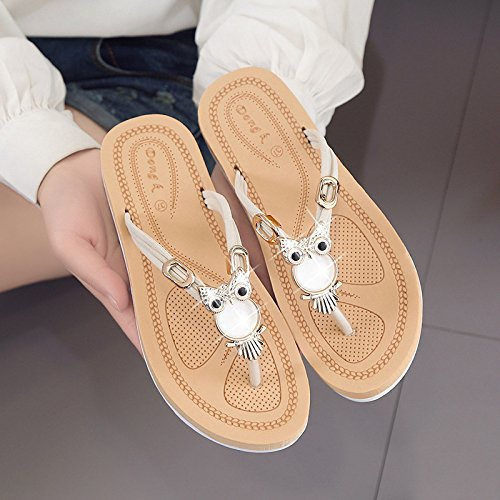 WYMBS Women's Sandals Spring Summer Club Evening Shoes PU Party & Evening Club Dress Casual Flat Heel Rhinestone Flower slippers... B07216S6W7 Shoes 8ab124