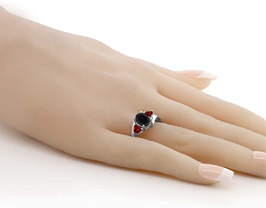 Details about  /925 Sterling Silver Red Garnet or Black Onyx Gemstone Ring Available Size US 4-8