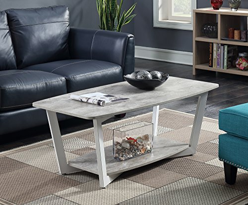 Stone Top Coffee Table - Convenience Concepts 111282GYWF Graystone Stone Coffee Table, Gray/White
