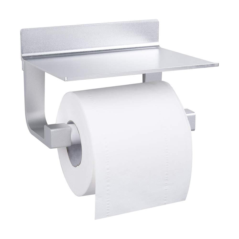 GERUIKE Toilet Paper Holder Wall Mount Self Adhesive Rustproof Tissue Roll Holder with Shelf Aluminum