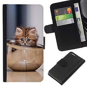 KLONGSHOP // Tirón de la caja Cartera de cuero con ranuras para tarjetas - Gatito lindo Tazón - Apple Iphone 5C //