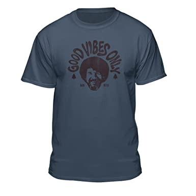 41c1af35 Bob Ross Good Vibes Only Official Licensed Graphic T-Shirt   Amazon.com