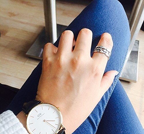 Generic 925 silver rings for men and women feather Joe Chu Chuan Zhao Liying same paragraph retro Thai silver jewelry opening live on personality
