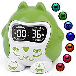 Baby White Noise Machine|Sleep Trainer Clock|Time to Wake Alarm Clock with 9 Soothing Sleep Sounds & Lullabies, 7-Color Night Light, 12/24 H, Dimmer, Nap, Timer for Kids, Toddler & Children' Bedroom