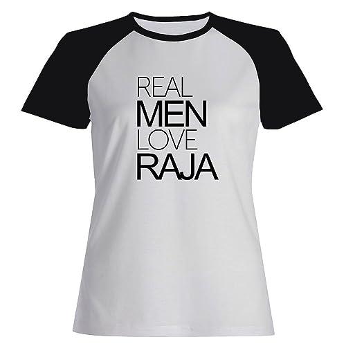 Idakoos Real men love Raja - Nomi Femminili - Maglietta Raglan Donna