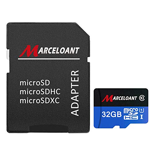 TF Card 32GB, Marceloant Micro SD Memory Cards Class 10 microSDHC UHS-I Card with Adapter, Black/Blue, Standard Packaging